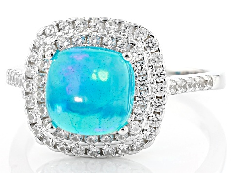 Blue Ethiopian Opal Rhodium Over Sterling Silver Ring 1.95ctw