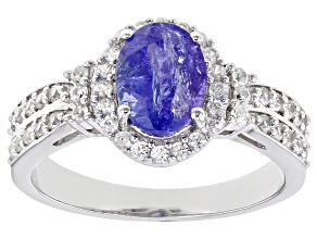 Blue Tanzanite Rhodium Over Sterling Silver Ring 1.73ctw