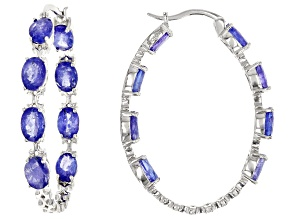 Blue Tanzanite Rhodium Over Sterling Silver Inside/Outside Hoop Earrings 16.00ctw