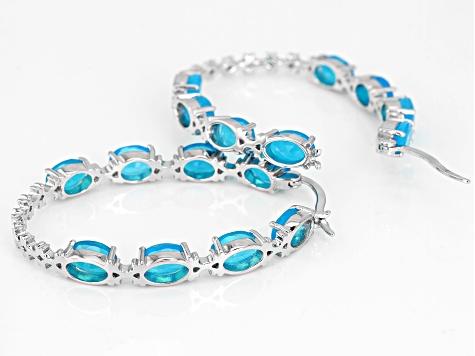 2faca98481b45 Teal Ethiopian Opal Rhodium Over Sterling Silver Inside/Outside Hoop  Earrings 7.00ctw
