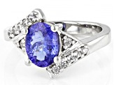 Blue Tanzanite Rhodium Over Sterling Silver Bypass Ring 2.20ctw