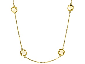 Yellow Brazilian Citrine 18K Yellow Gold Over Sterling Silver Station Necklace 30.00ctw