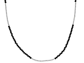 Black Spinel Rhodium Over Sterling Silver Beaded Necklace 30.00ctw