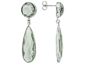 Green Brazilian Prasiolite Rhodium Over Sterling Silver Dangle Earrings 30.00ctw