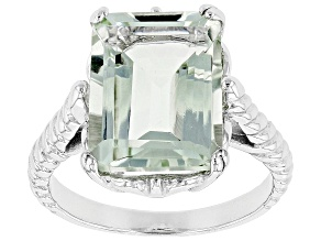 Green Brazilian Prasiolite Rhodium Over Sterling Silver Solitaire Ring 7.00ct