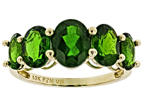 Green Russian Chrome Diopside 10K Yellow Gold Graduated 5- Stone Ring 3.95ctw