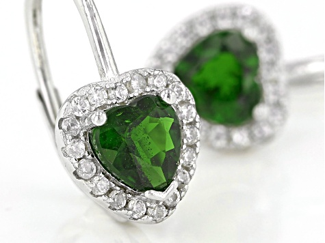 Green Russian Chrome Diopside Rhodium Over Sterling Silver Heart Earrings