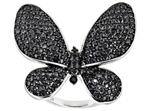 Black Spinel Rhodium Over Sterling Silver Butterfly Ring 3.73ctw