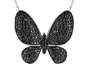 Black Spinel Rhodium Over Sterling Silver Butterfly Necklace 3.73ctw