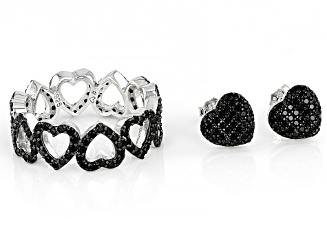 Black Spinel Rhodium Over Sterling Silver Heart Eternity Ring and Earring Set 1.94ctw