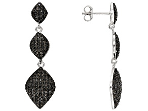 Black Spinel Rhodium Over Sterling Silver Dangle Earrings 1.55ctw