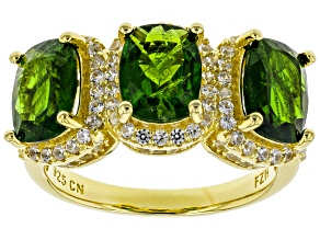 Green Russian Chrome Diopside 18L Yellow Gold Over Sterling Silver 3-Stone Ring 5.38ctw