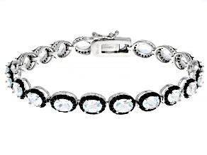 White Goshenite Rhodium Over Sterling Silver Tennis Bracelet 12.60ctw