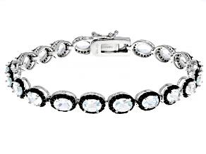 White Goshenite Rhodium Over Sterling Silver Tennis Bracelet 12.60ctw