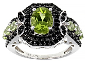 Green Peridot Rhodium Over Sterling Silver Ring 3.40ctw