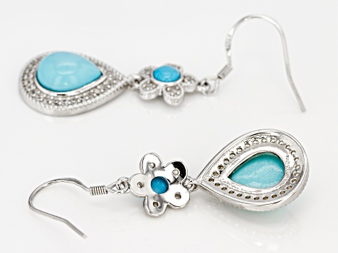 Blue Sleeping Beauty Turquoise Rhodium Over Sterling Silver Dangle Earrings 0.80ctw