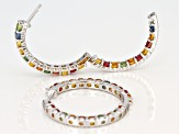 Multicolor Sapphire Rhodium Over Silver Hoop Earrings 6.16ctw