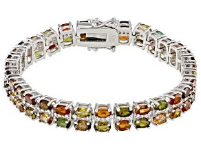 Multicolor Tourmaline Rhodium Over Sterling Silver Bracelet 14.88ctw