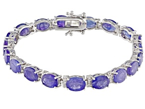 Blue Tanzanite Rhodium Over Sterling Silver Bracelet 23.88ctw