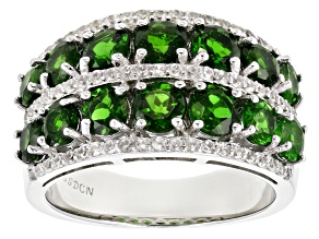 Green Russian Chrome Diopside Rhodium Over Sterling Silver Band Ring 4.15ctw