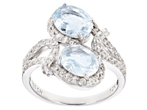 Blue Brazilian Aquamarine Rhodium Over Sterling Silver Bypass Ring 3.43ctw