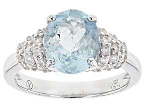 Blue Brazilian Aquamarine Rhodium Over Silver Ring 3.19ctw