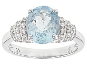 Blue Brazilian Aquamarine Rhodium Over Silver Ring 3.19ctw