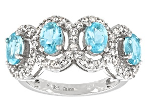 Blue Apatite Rhodium Over Silver Ring 2.90ctw
