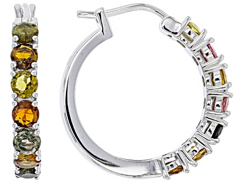 Mixed Color Tourmaline Rhodium Over Silver Hoop Earrings 3.50ctw