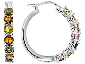 Mixed Color Tourmaline Rhodium Over Sterling Silver Hoop Earrings 3.50ctw