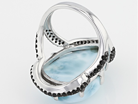 Blue Larimar Rhodium Over Sterling Silver Ring .66ctw