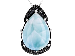Blue Larimar Rhodium Over Silver Pendant With Chain .66ctw