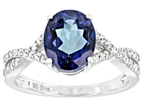 Blue Danburite Rhodium Over Silver Ring 2.95ctw