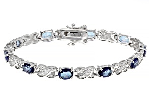 Blue Danburite Rhodium Over Silver Bracelet 7.98ctw