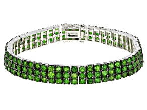 Green Chrome Diopside Rhodium Over Silver Bracelet 12.25ctw