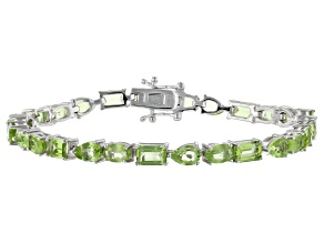 Green Peridot Rhodium Over Silver Bracelet 13.50ctw