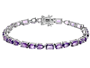 Purple African Amethyst Rhodium Over Silver Bracelet 11.50ctw
