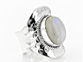 Multi Color Rainbow Moonstone Sterling Silver Adjustable Solitaire Ring