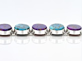Multi Color  Turquoise Sterling Silver Bracelet