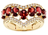 Red Garnet 18K Yellow Gold Over Sterling Silver Ring 4.17ctw