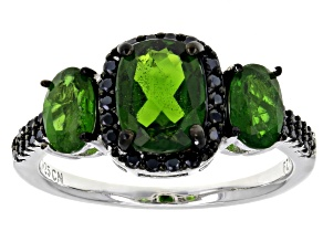 Green Russian Chrome Diopside Rhodium Over  Silver Ring 2.76ctw