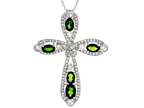 Green Russian Chrome Diopside Rhodium Over Silver Cross Pendant With Chain 5.53ctw