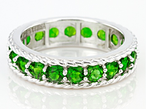 Green Chrome Diopside Rhodium Over Silver Eternity Band 2.50ctw
