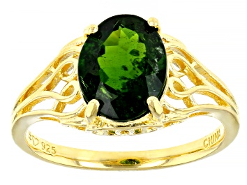 Picture of Green Russian Chrome Diopside 18K Yellow Gold Over Sterling Silver Ring 2.70ct