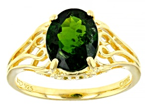 Green Russian Chrome Diopside 18K Gold Over Silver Ring 2.70ct