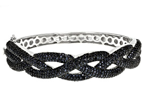 Black Spinel Rhodium Over Silver Bangle Bracelet 7.41ctw