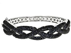 Black Spinel Rhodium Over Sterling Silver Bangle Bracelet 7.41ctw