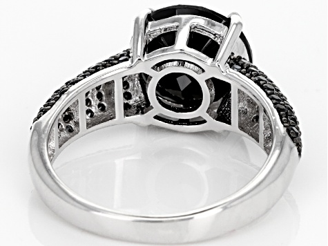 Black Spinel Rhodium Over Sterling Silver Ring 5.11ctw