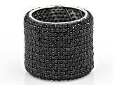 Black Spinel Rhodium Over Silver Eternity Band Ring 10.83ctw