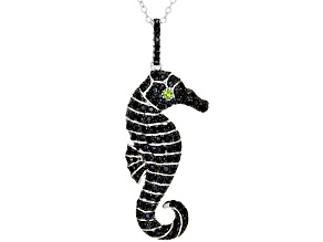 Black Spinel Rhodium Over Silver Seahorse Pendant With Chain 1.39ctw